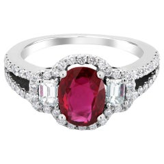 No Heat Magok Mined Burma Ruby Diamond Platinum Cocktail Ring GIA Certificate