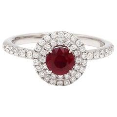 No Heat Mozambique Ruby Diamond 18 Karat White Gold Halo Ring