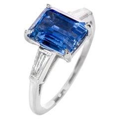 No Heat Natural GIA Sri Lankan Ceylon Sapphire Diamond Platinum Engagement Ring