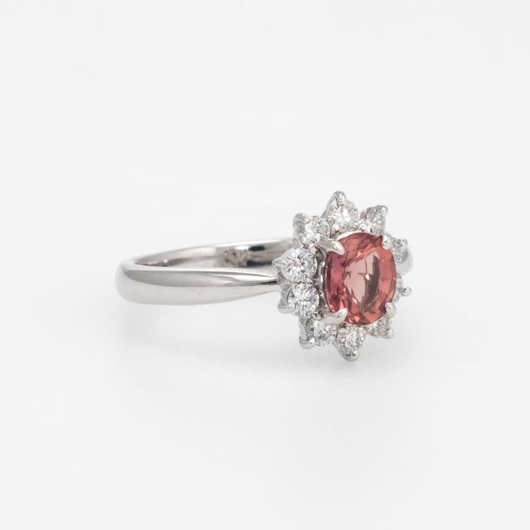 Oval Cut No Heat Natural Musky Pink Padparadscha Sapphire Ring Platinum Engagement For Sale