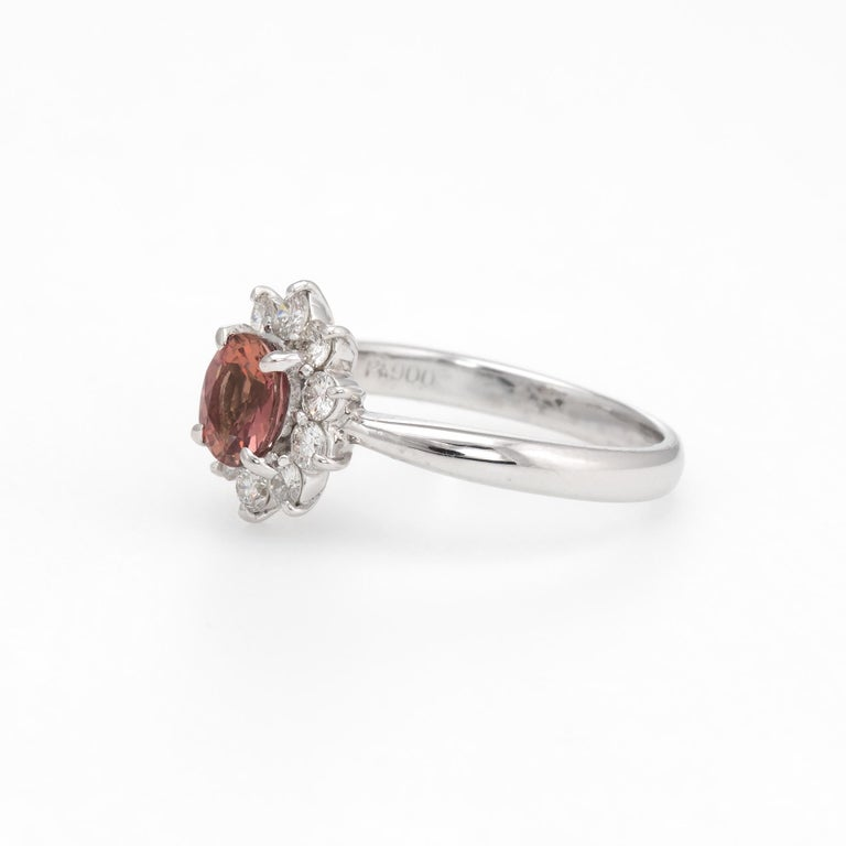 No Heat Natural Musky Pink Padparadscha Sapphire Ring Platinum Engagement In Excellent Condition For Sale In Torrance, CA