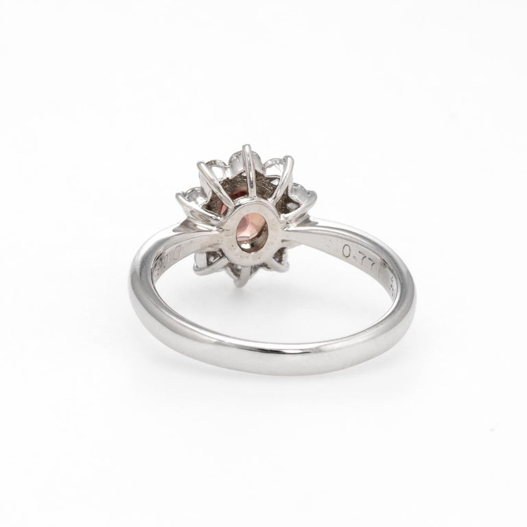 Women's No Heat Natural Musky Pink Padparadscha Sapphire Ring Platinum Engagement For Sale