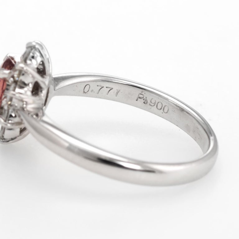 No Heat Natural Musky Pink Padparadscha Sapphire Ring Platinum Engagement For Sale 2