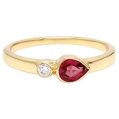 No Heat Pear Ruby Diamond 18 Karat Yellow Gold Ring