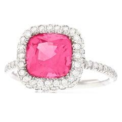 No Heat Pink Mahenge Spinel and Diamond Set Platinum Ring GIA
