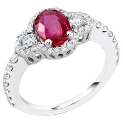 No Heat Platinum Magok Burma Ruby Diamond Cocktail Ring GIA Certificate