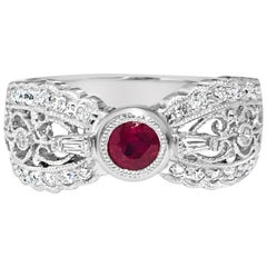 No Heat Ruby and Diamond Platinum Engagement Ring