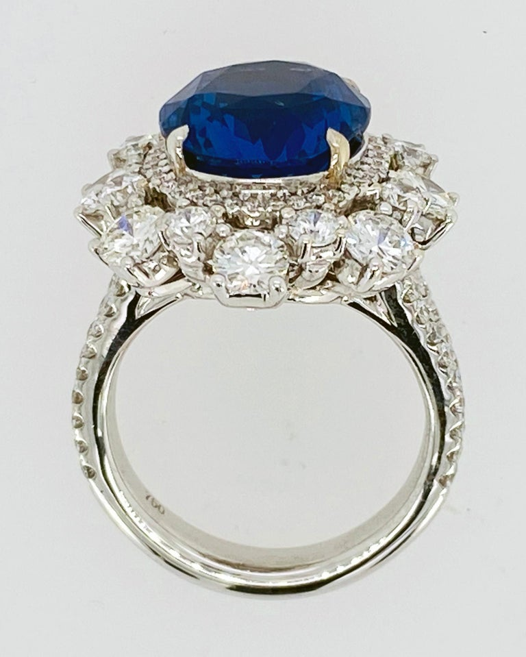 No Heat Sapphire and Diamond Ring In New Condition For Sale In Carmel, CA