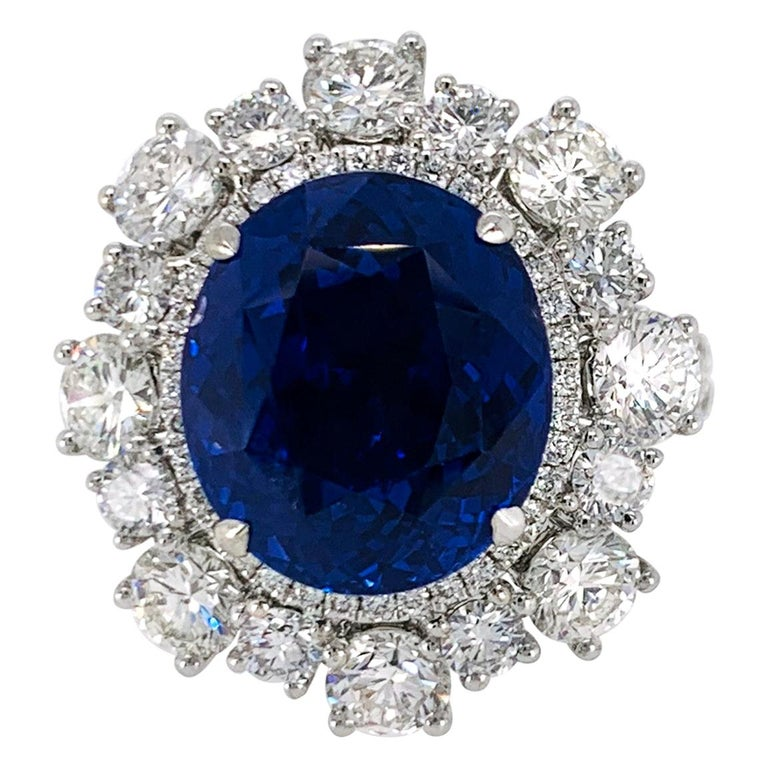 No Heat Sapphire and Diamond Ring For Sale