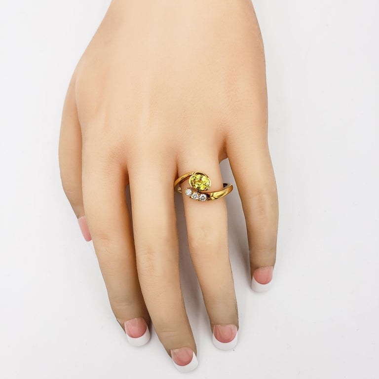 Contemporary Roman Malakov, No Heat Yellow Sapphire and Diamond Bypass Ring For Sale