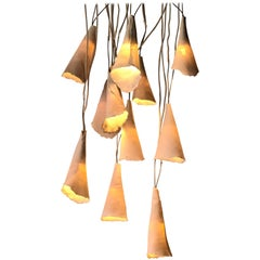 No Limit Pendants of Handmade Porcelain Lampshade Cones with Led Lightbulbs