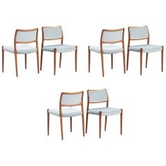 N.O. Moller Rosewood Dining Chairs Model 80 for J.L. Mollers, Set of Six