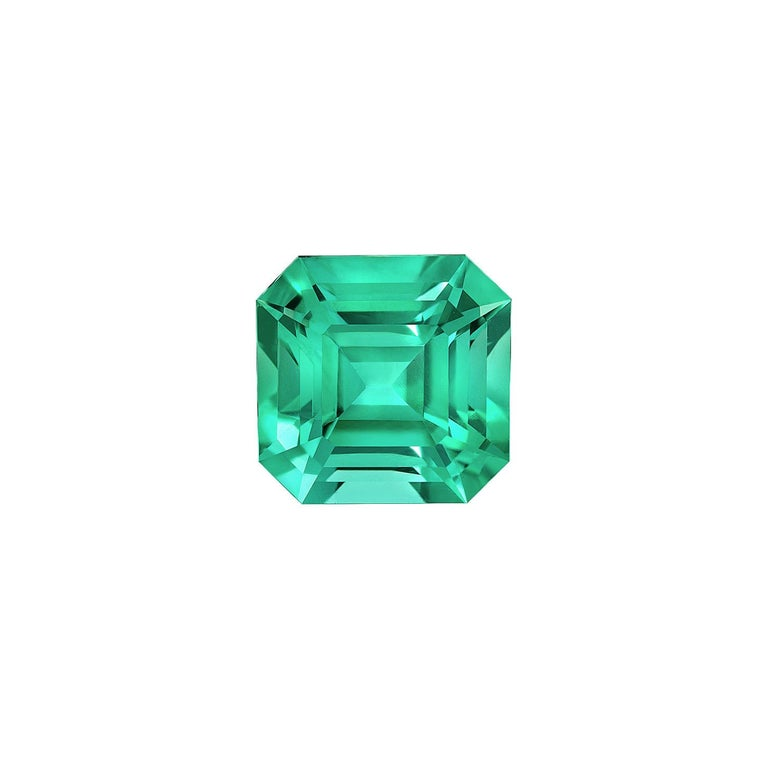 Emerald Cut No Oil Colombian Emerald Ring Gem 2.14 Carat Untreated Asscher Cut For Sale