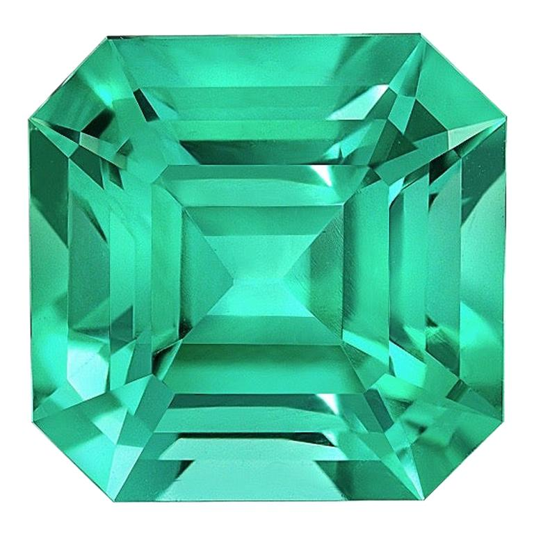 No Oil Colombian Emerald Ring Gem 2.14 Carat Untreated Asscher Cut For Sale
