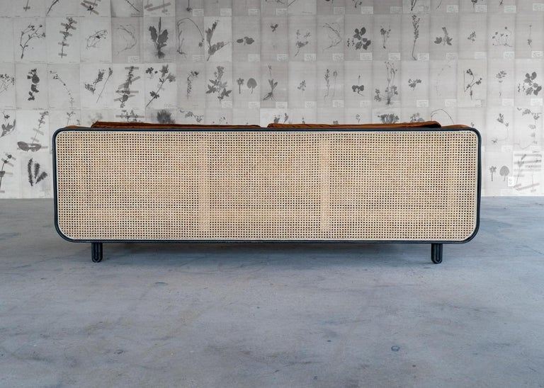 American Nº105 Couch by Avoirdupois - A silk velvet, caning and bentwood three-seat sofa For Sale