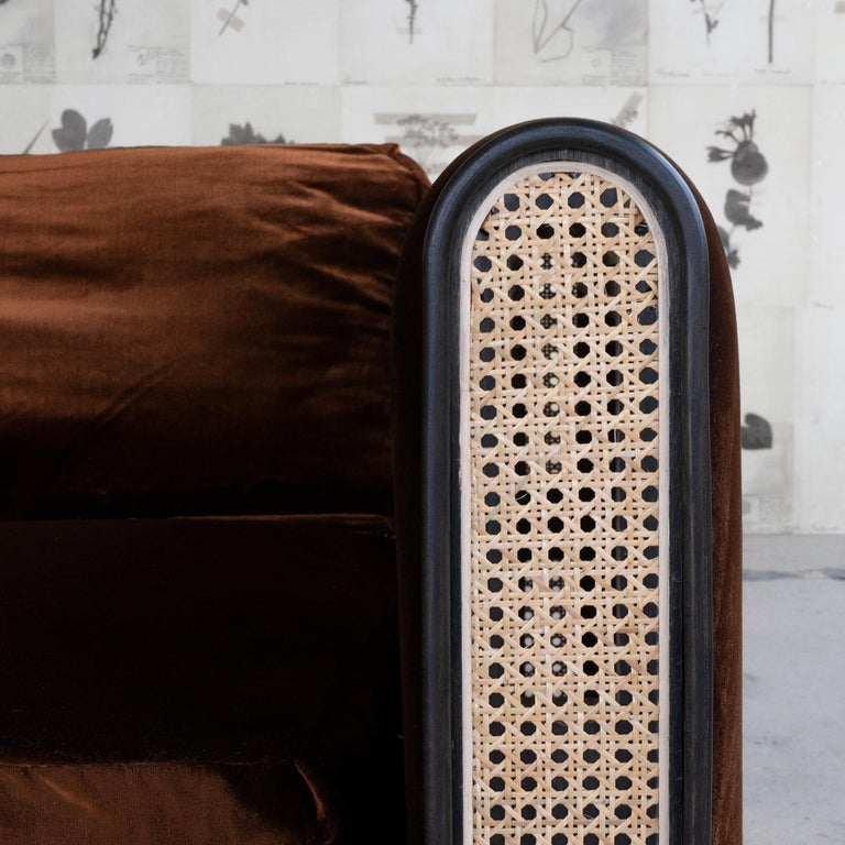 Ebonized Nº105 Couch by Avoirdupois - A silk velvet, caning and bentwood three-seat sofa For Sale