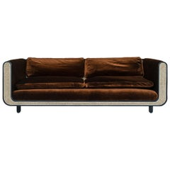 Nº105 Couch by Avoirdupois - A silk velvet, caning and bentwood three-seat sofa