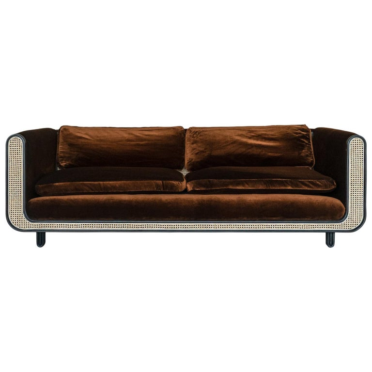 Nº105 Couch by Avoirdupois - A silk velvet, caning and bentwood three-seat sofa For Sale