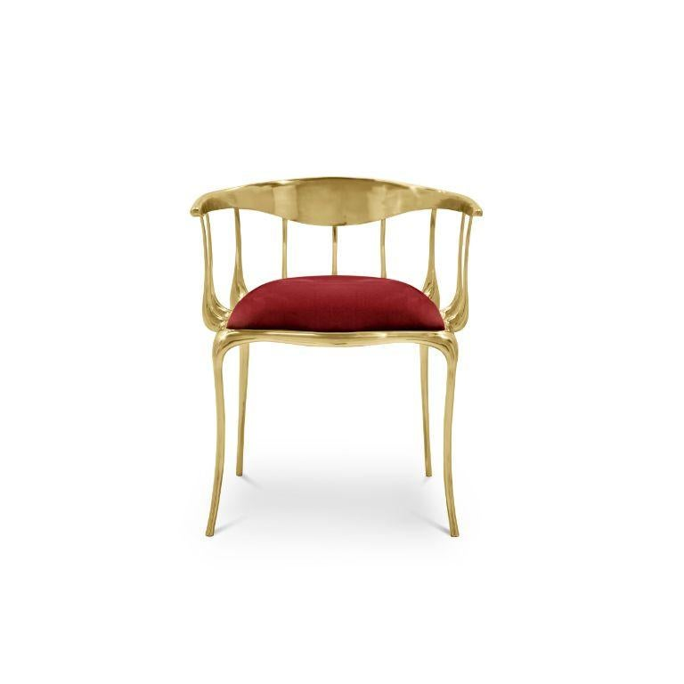 Metalwork Nº11 Dining Chair in Solid Brass For Sale