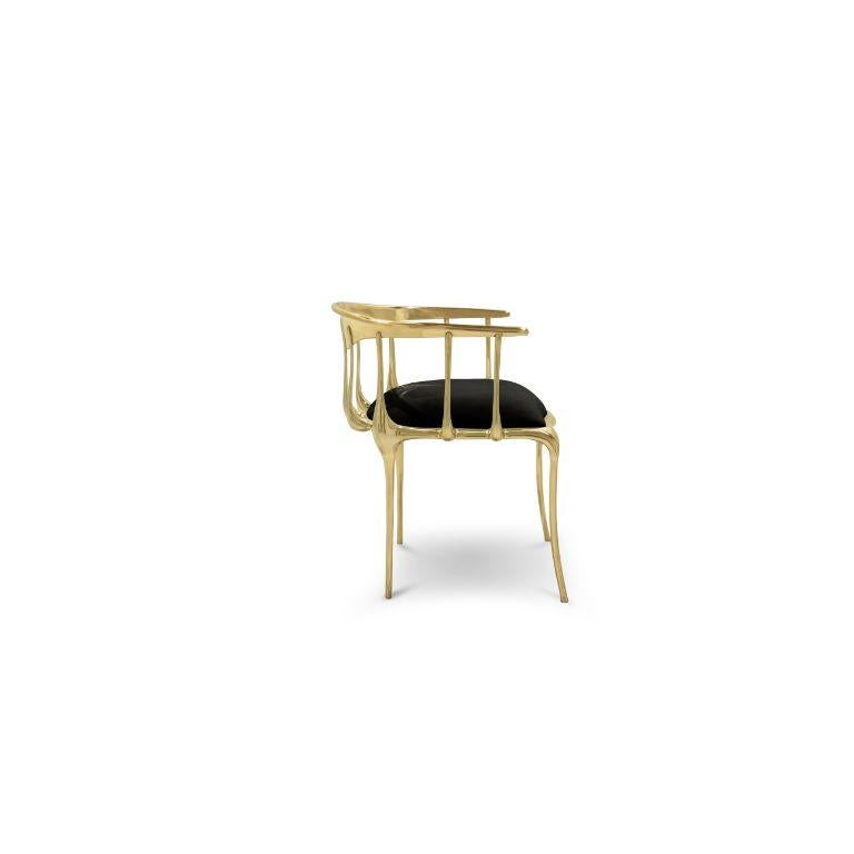 Contemporary Nº11 Dining Chair in Solid Brass For Sale