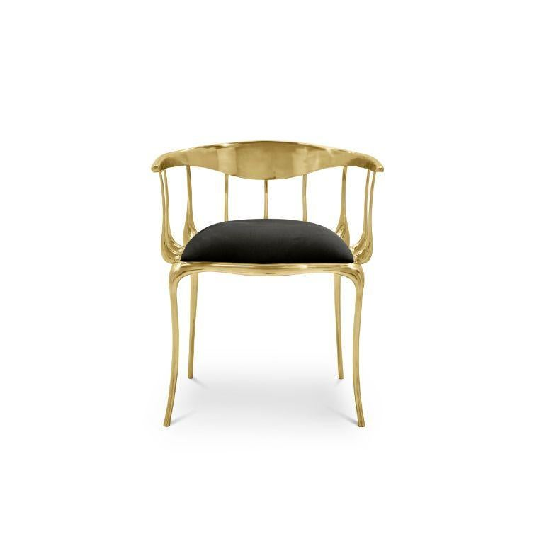 Nº11 Dining Chair in Solid Brass For Sale 1