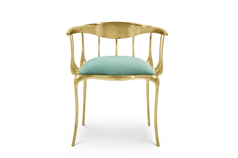 Modern Nº11 Dining Chair in Solid Brass For Sale