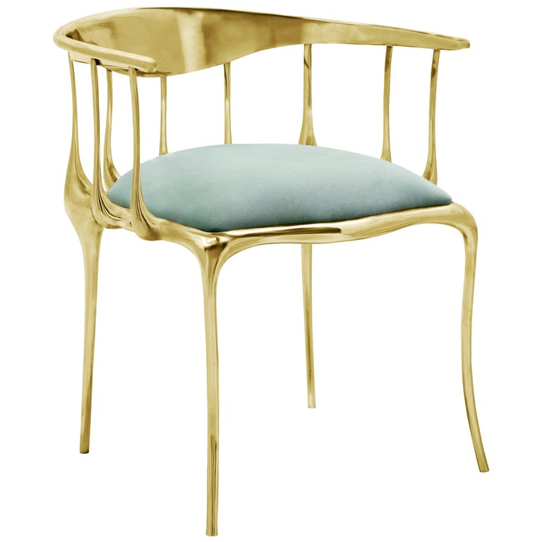 Nº11 Dining Chair in Solid Brass For Sale