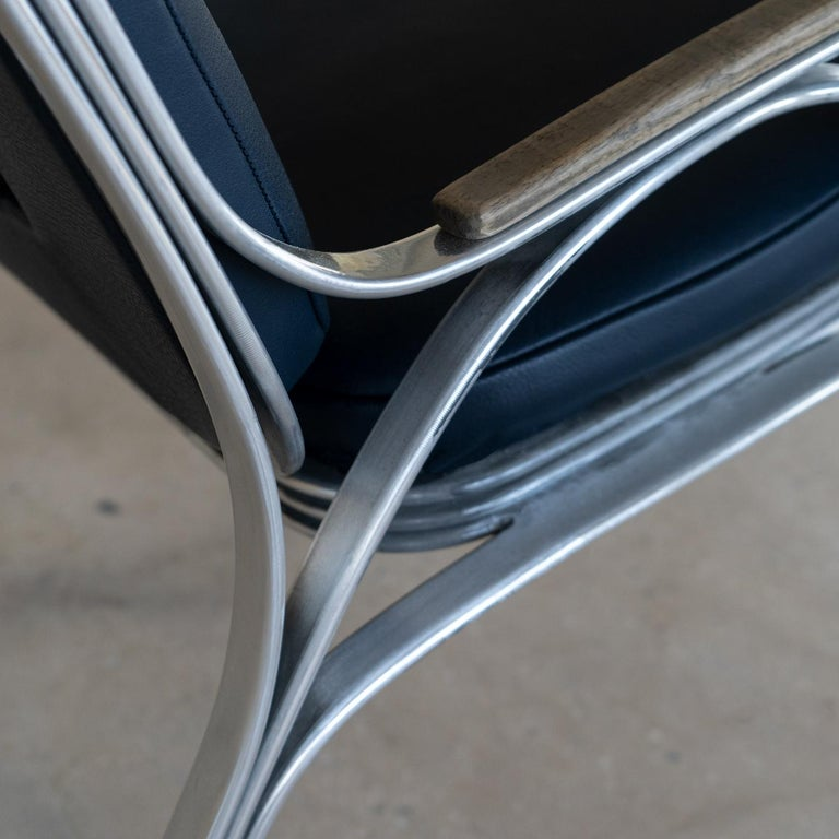 Polished Nº117 Lounge Seat by Avoirdupois - A metal, leather and bentwood lounge chair For Sale