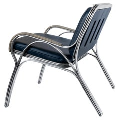 Nº117 Lounge Seat by Avoirdupois - A metal, leather and bentwood lounge chair