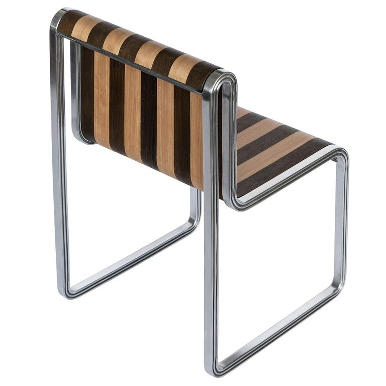 Nº135 Supper Chair by Avoirdupois - Metal & striped veneer dining kitchen chair For Sale
