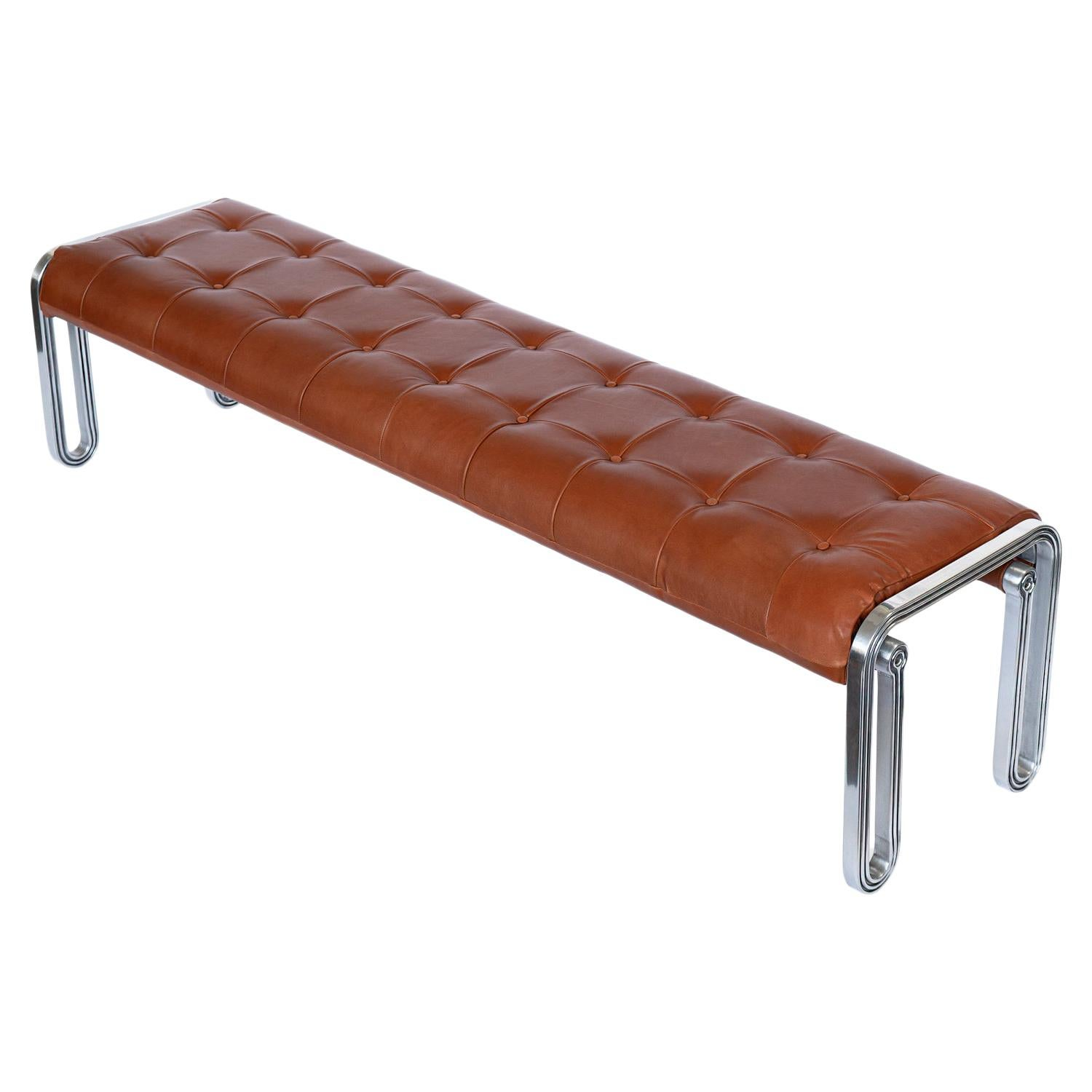 Nº141 Vestibule Bench by Avoirdupois, a Metal and Tufted Leather Entry Bench