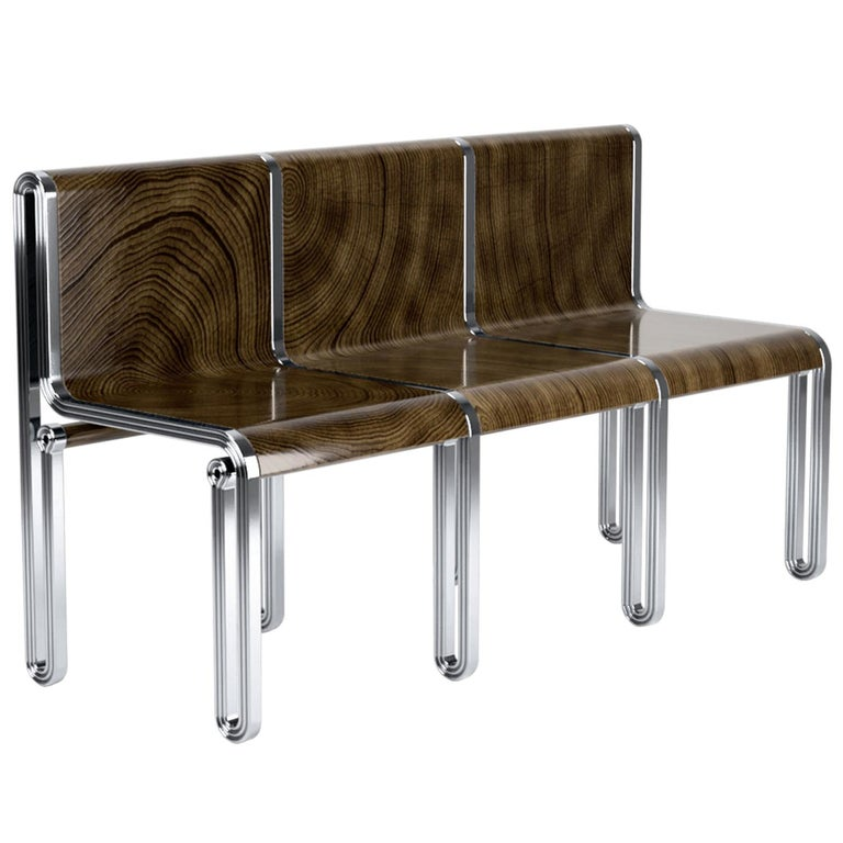 Nº147 Public Seating by Avoirdupois - A metal and wood veneer three seat bench For Sale