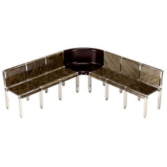 Nº150 Grand Public Seating by Avoirdupois - A metal and wood veneer large bench