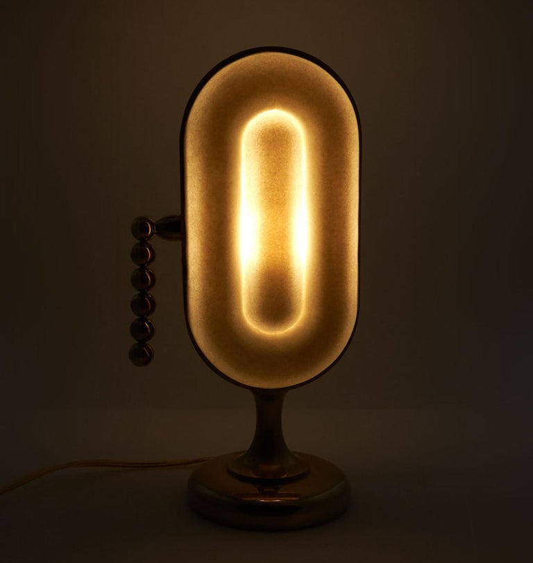 American Nº153 Surface Lamp by Avoirdupois - A brass pull chain and porcelain table lamp For Sale