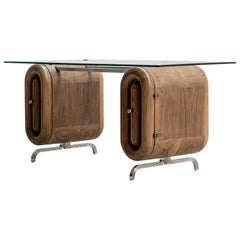 Nº192 Escritoire by Avoirdupois, a Wood and Metal Desk with Glass Top