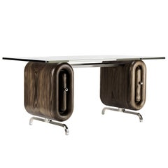 Nº192 Escritoire by Avoirdupois - A wood and metal desk with glass top