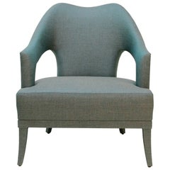 Nº20 Armchair in Gray and Blue Twill