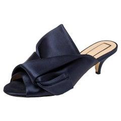 Nº21 Navy Blue Satin Raso Knot Peep Toe Kitten Heel Mules Size 37
