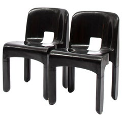 No.4867 Universale Black Plastic Chairs By Joe Colombo For Kartell, 1967