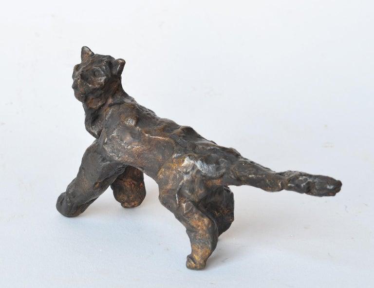 Cat Under the Bridge -miniature cat bronze sculpture by NY artist Noa Bornstein - Gold Figurative Sculpture by Noa Bornstein
