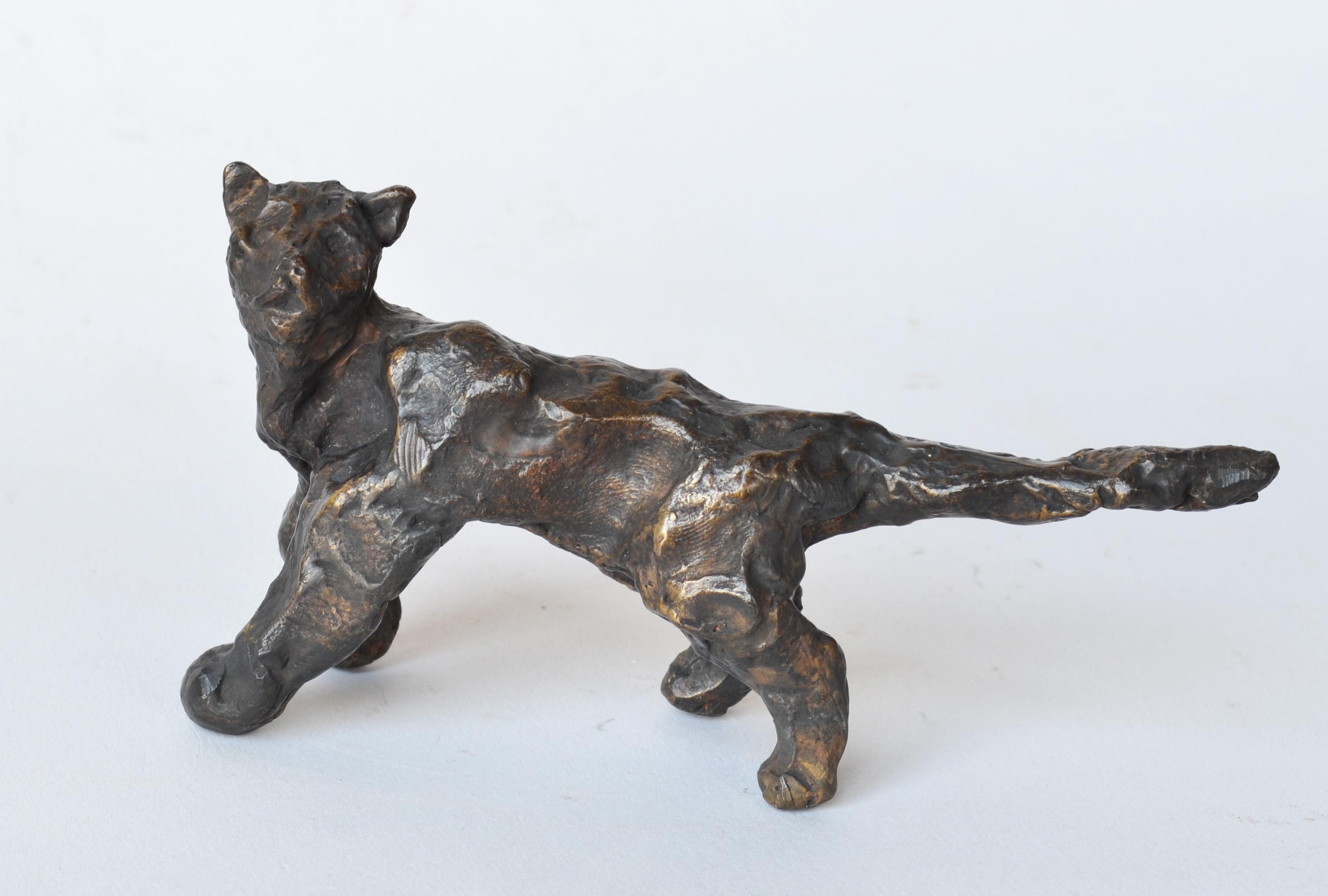 Cat Under the Bridge -miniature cat bronze sculpture by NY artist Noa Bornstein