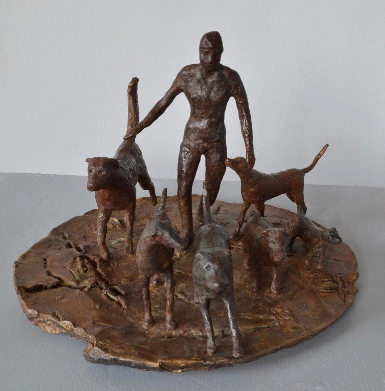 Dog Walker- 6 bronze Dogs Walking their Human by New York artist Noa Bornstein  For Sale 1