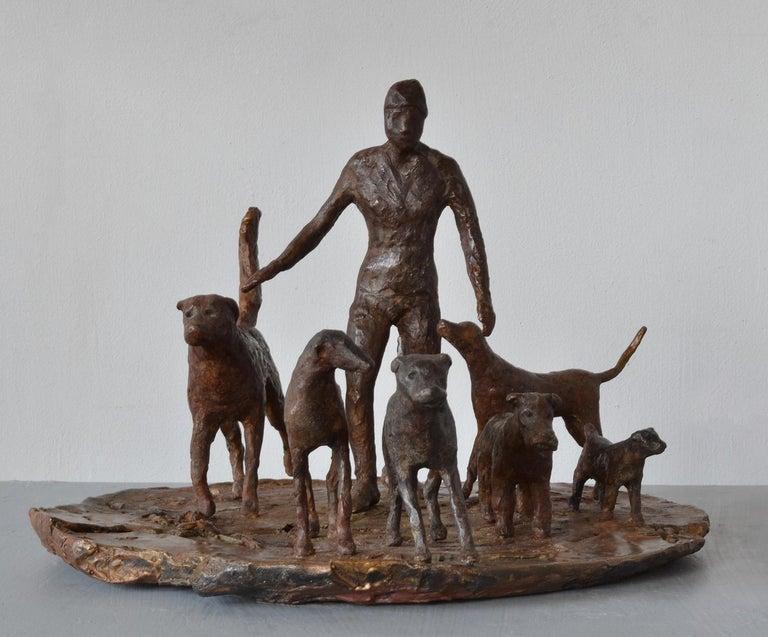 Dog Walker- 6 bronze Dogs Walking their Human by New York artist Noa Bornstein  For Sale 2