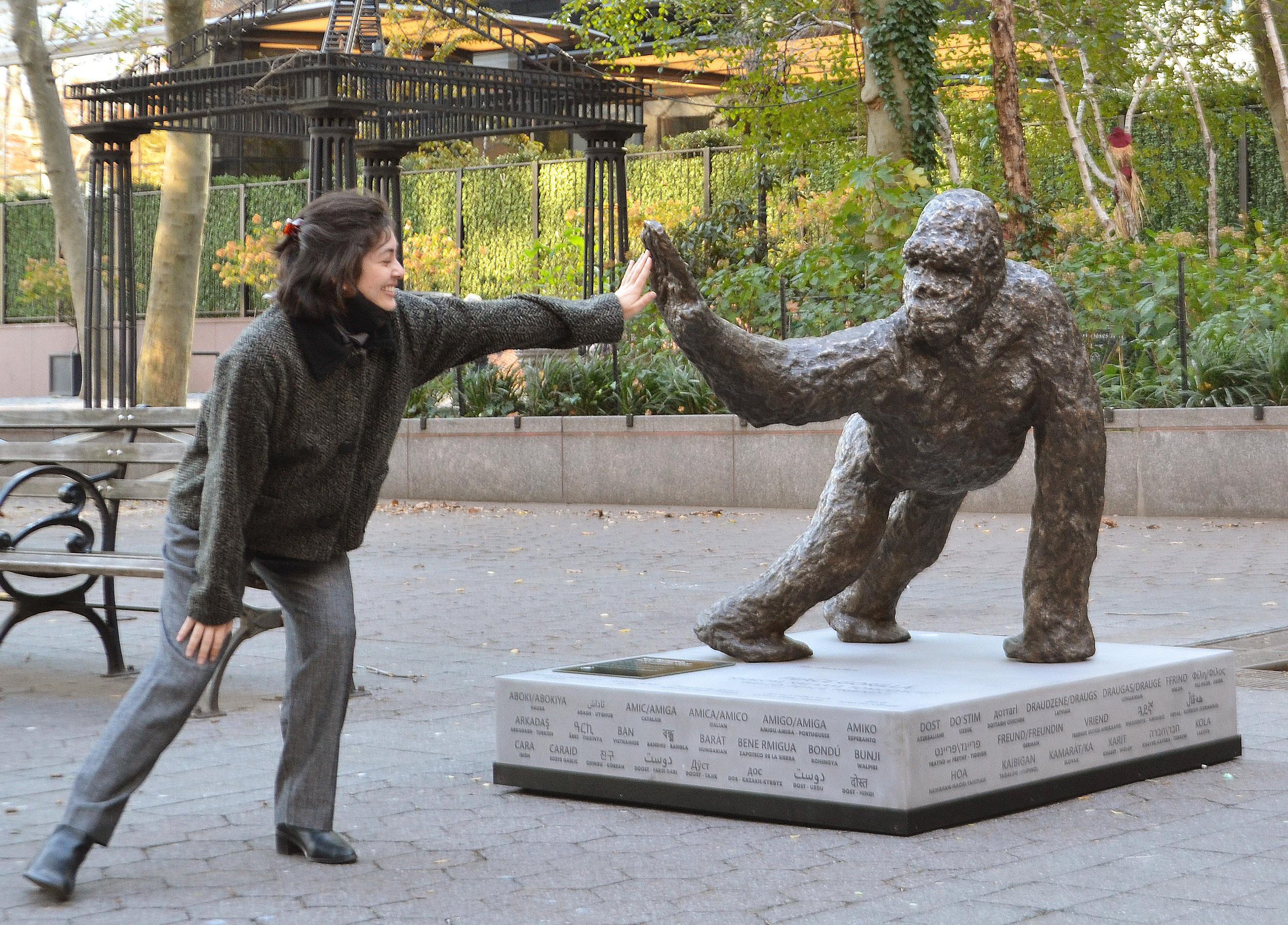 Peace Gorilla bronze sculpture