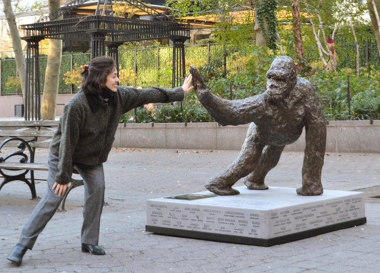 Noa Bornstein Figurative Sculpture - Peace Gorilla bronze sculpture