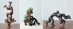 Why Fight When You Can Play? 3 Pairs interactive miniature bronze figures