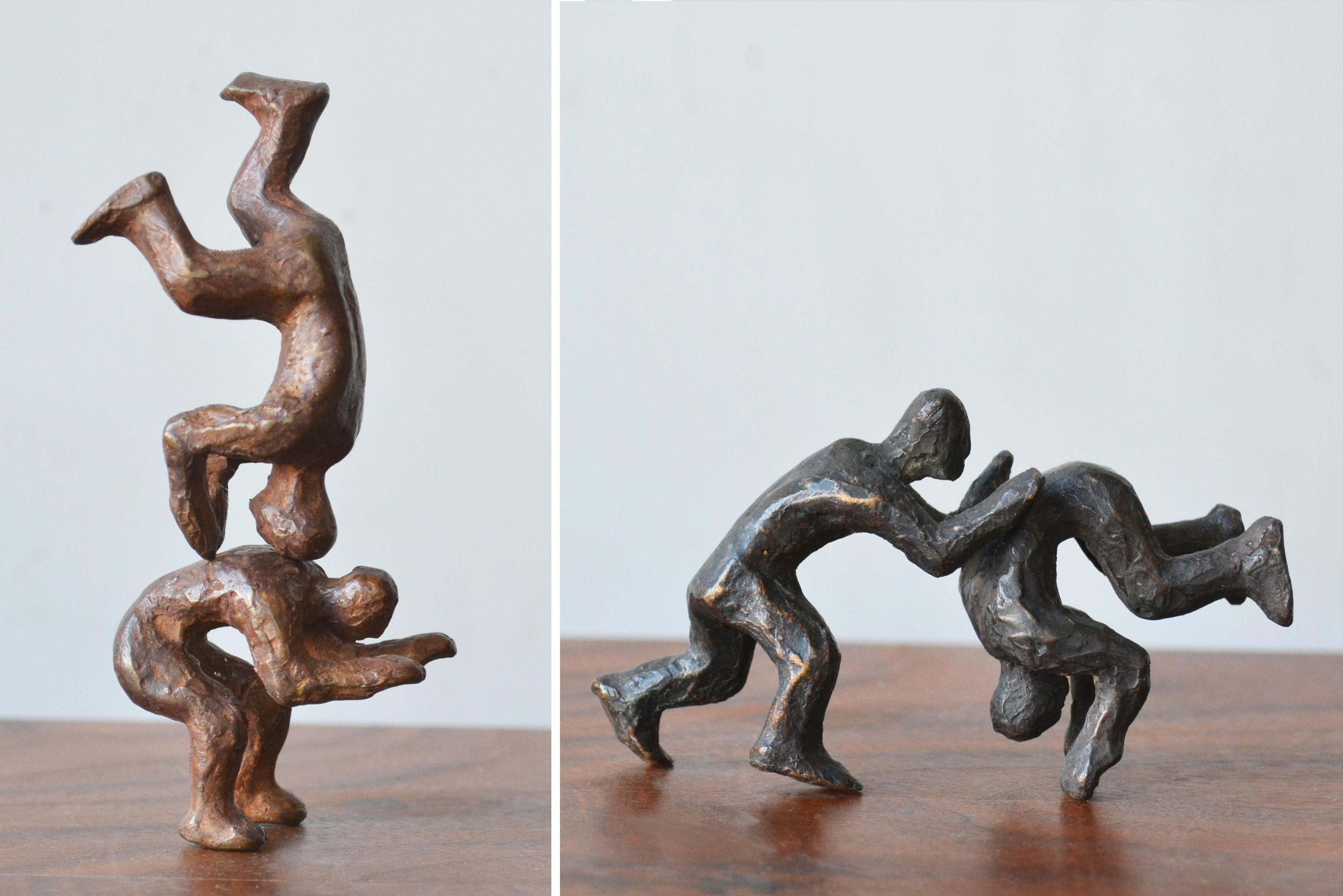Why Fight When You Can Play? -4 Pairs of playful interactive bronze figures
