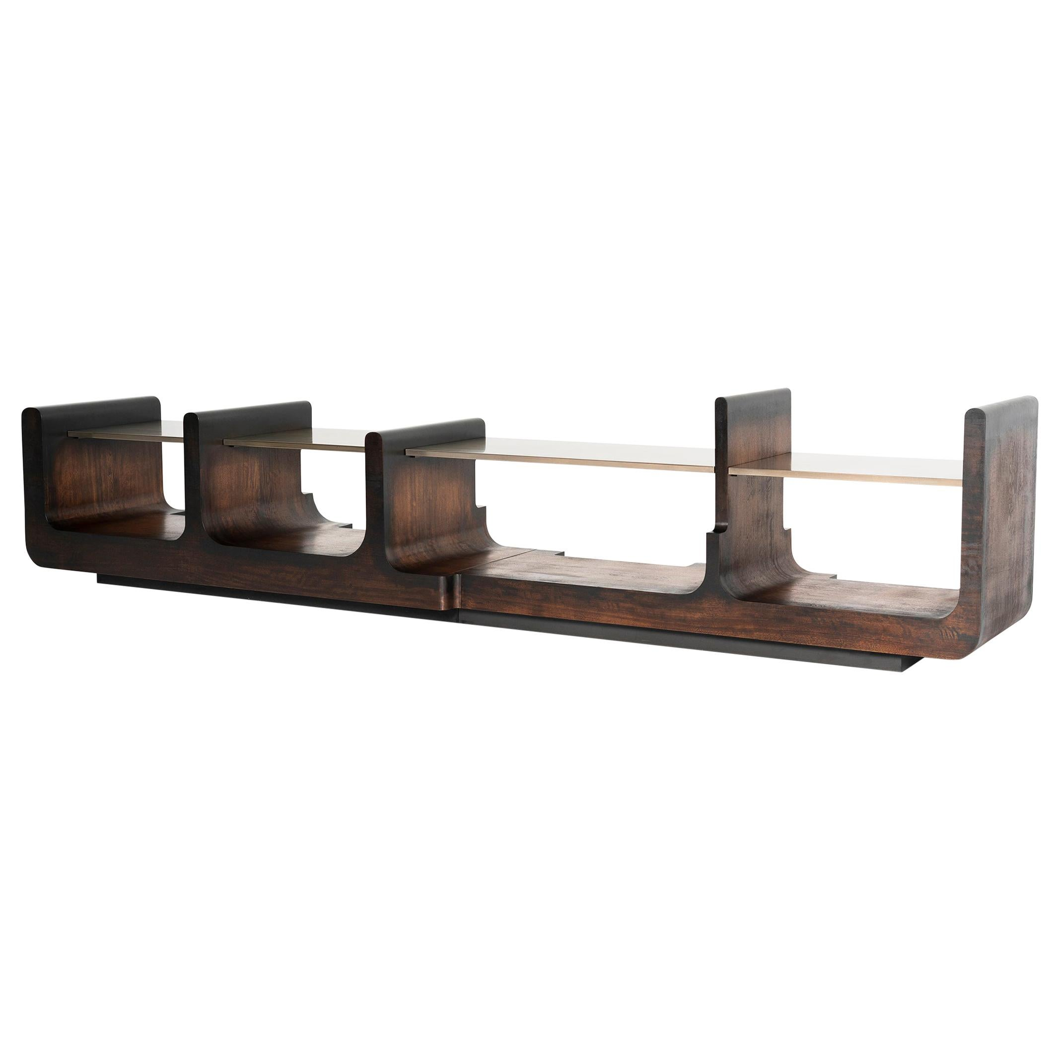 NOAH, 21st Century Modern Bespoke Audio Sideboard in African Walnut and Brass