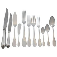 Noailles by Puiforcat French Sterling Silver Flatware Set Dinner Service 135 Pcs