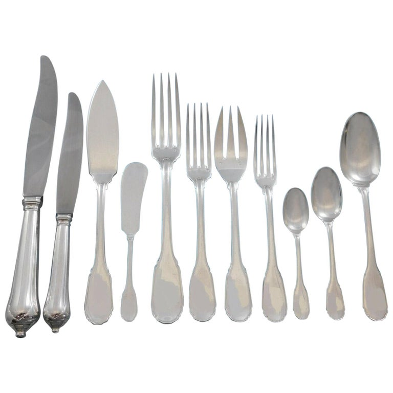 Noailles by Puiforcat French Sterling Silver Flatware Set Dinner Service 135 Pcs For Sale